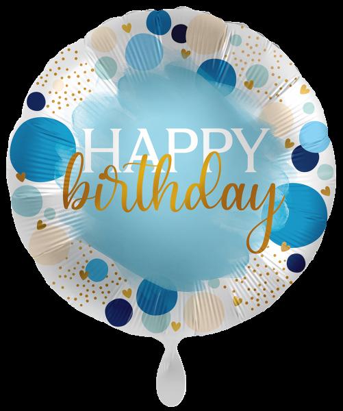 Folienballon Happy Birthday, Lucky Dots Blau, ca. 45 cm