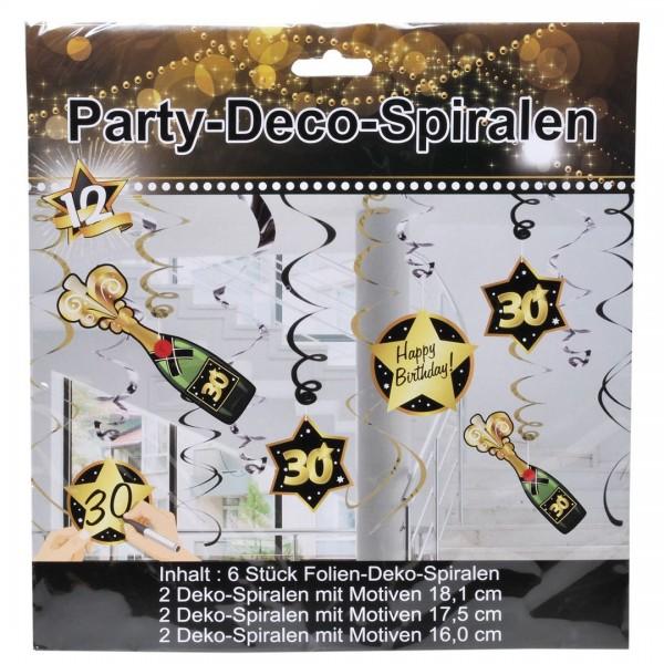 Deko-Spiralen 30 schwarz/gold, 6 St.