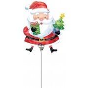 Mini Folienballon Weihnachtsmann, luftgefüllt mit Stab, ca. 28 cm