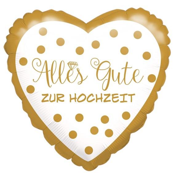 Folienherz Alles Gute zur Hochzeit, gold/weiß, ca. 43 cm