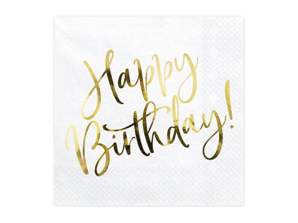 Servietten Happy Birthday weiß gold, ca. 33x33 cm, 20 St.