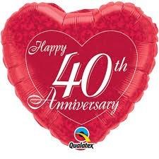 Folien-Herz Happy 40th Anniversary, ca. 45 cm