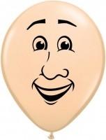 5 Ballons Gesicht Mann, Qualatex, ca. 13 cm
