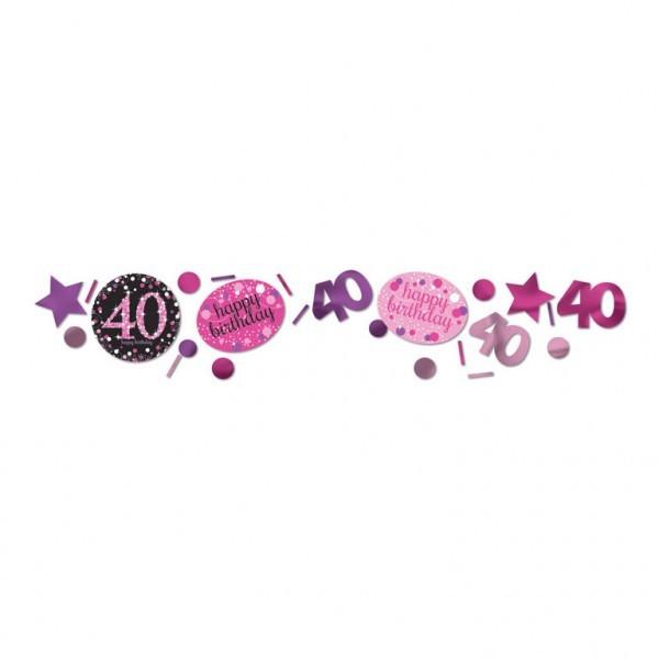 Konfetti Streudeko 40 pink/lila/schwarz/weiß/silber Mix, 3-fach, ca. 34 gr.