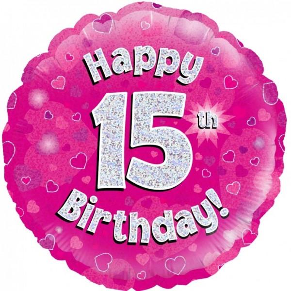 Folienballon Happy 15th Birthday PINK, ca. 45 cm