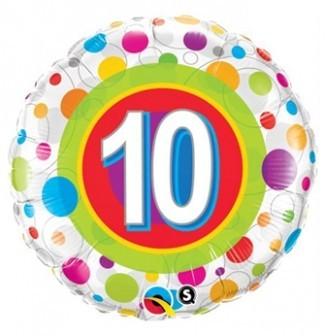 Folienballon 10, bunte Punkte, ca. 45 cm