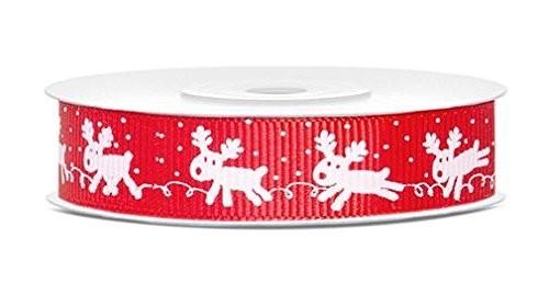 Geschenkband Rentier rot/weiß, 1,5cm x 10 M.