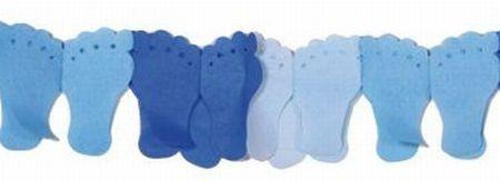 Girlande Füßchen, blau, Papier, 6 M.