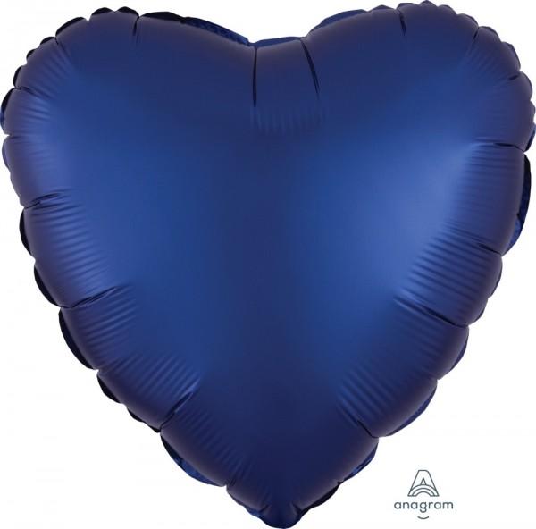 Folienherz SATIN blau, ca. 43 cm