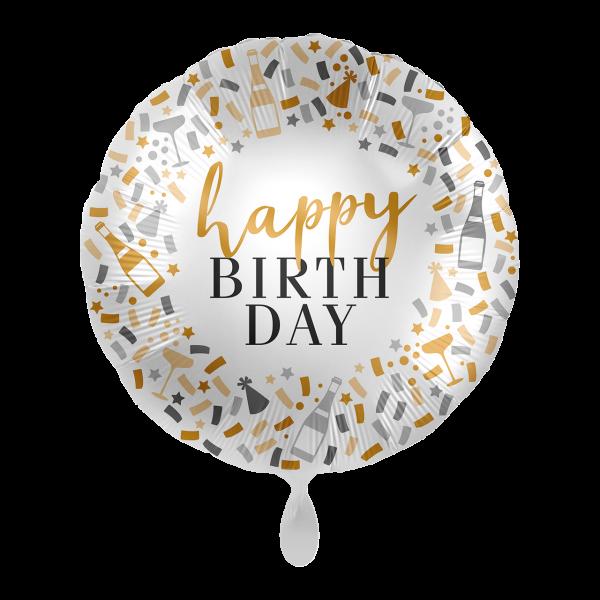 Folienballon hello happy BIrthday, weiß/gold/schwarz/grau, ca. 45 cm