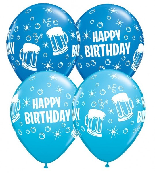 5 Ballons Happy Birthday Biergläser, blau, Qualatex, ca. 30 cm
