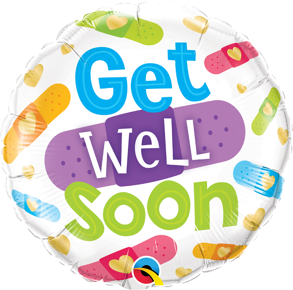 Folienballon Get well soon, bunte Pflaster, ca. 45 cm