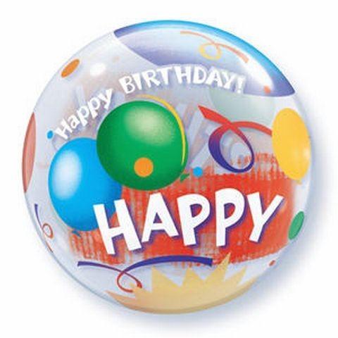 Ballongruß: Bubble Happy Birthday, Ballons, ca. 56 cm