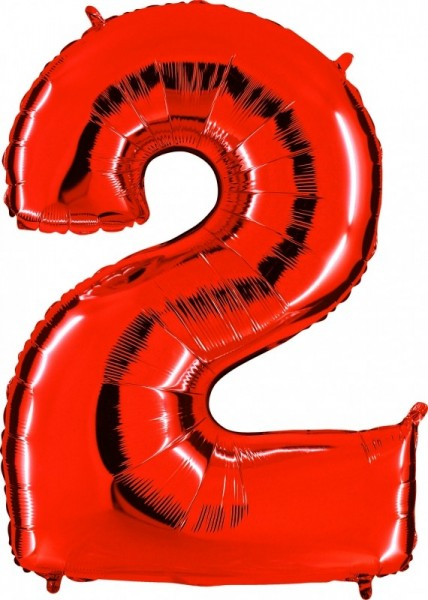 Folienballon Zahl 2, ca. 100 cm, rot