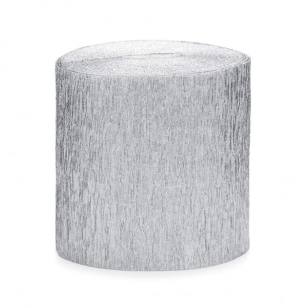 Krepp-Papier silber, ca. 5 cm x 10 Meter, 4 Rollen