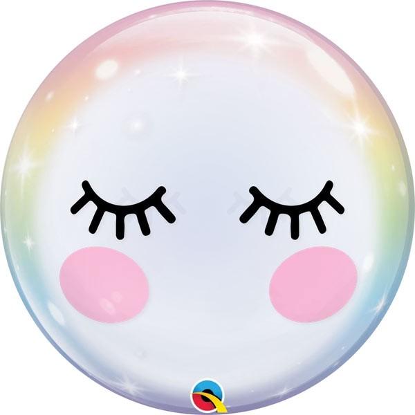 Ballongruß: Bubble Einhorn Wimpern, ca. 56 cm