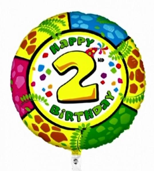 Folienballon Happy 2nd Birthday, Animaloons, ca. 53 cm