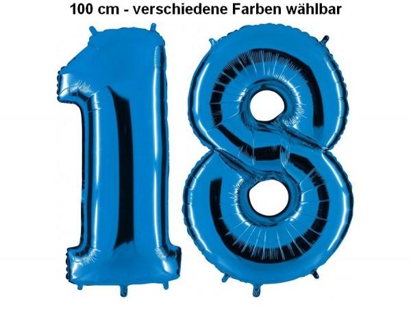 Folienballon Set Zahl 18, ca. 100 cm, verschiedene Farben