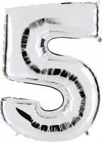 Folienballon Zahl 5, ca. 41 cm, silber, für Luftbefüllung