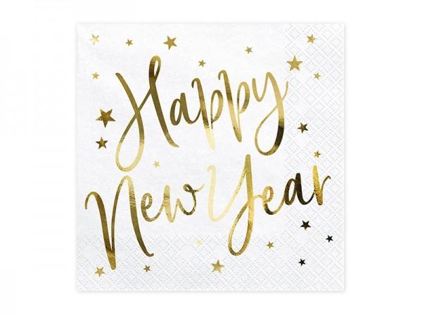 Servietten Happy New Year weiß gold, ca. 33x33 cm, 20 Stück