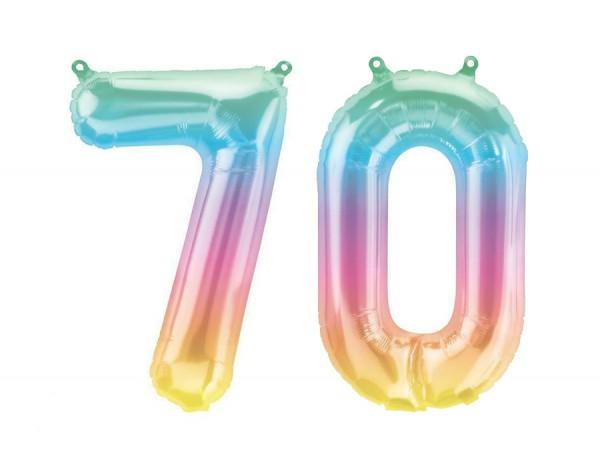 Folienballon Set Zahl 70, ca. 41 cm, Jelli Ombre, für Luftbefüllung