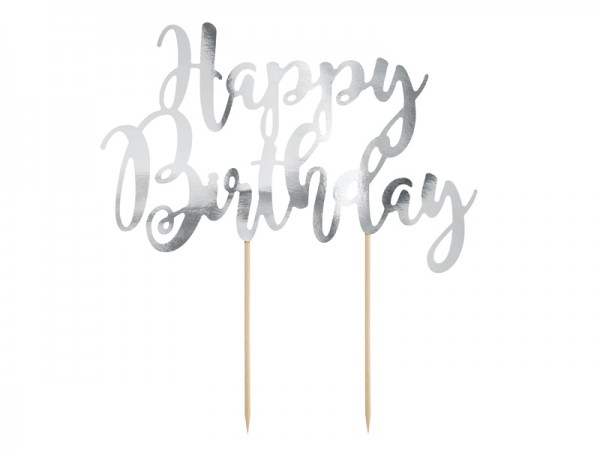 Cake Topper Tortendeko Happy Birthday silber, ca. 22,5 cm