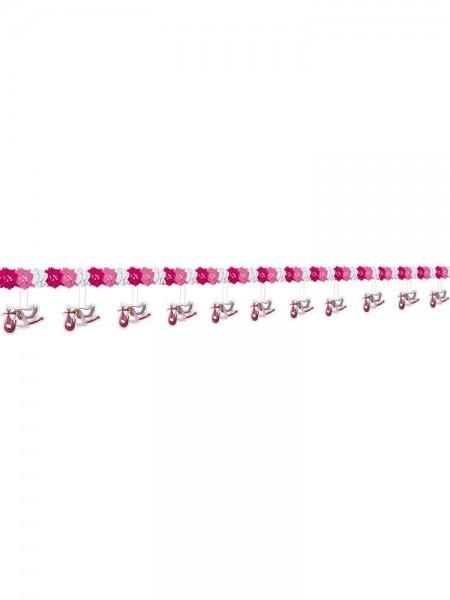Girlande rosa/weiß mit Störchen, ca. 4 Meter