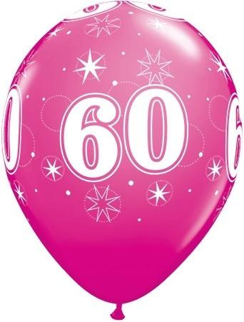 5 Zahlenballons 60 Qualatex, pink, ca. 30 cm
