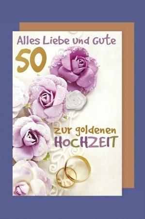 Grußkarte: Alles Liebe und Gute 50 zur goldenen Hochzeit - mit Stoffrose
