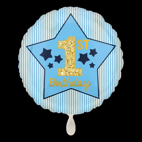 Folienballon 1st Birthday, blau, Sterne, ca. 45 cm