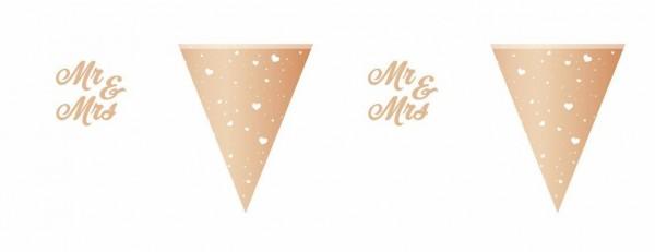 Wimpelkette Mr & Mrs, rose gold / Weiß, ca. 6 M.