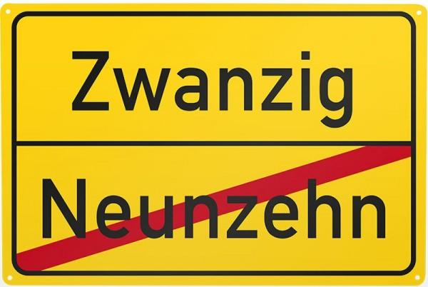 Blechschild Neunzehn / Zwanzig, ca. 30 x 20 cm