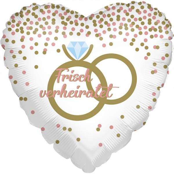 Ballongruß: Frisch verheiratet, Eheringe, ca. 45 cm