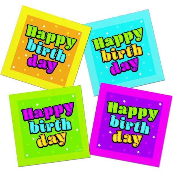 Servietten Happy Birthday bunt, ca. 33x33 cm, 20 St.