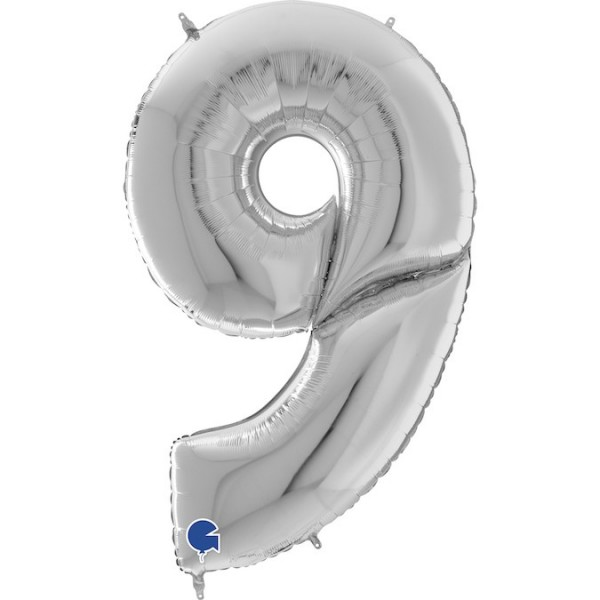 XXL Folienballon Zahl 9, ca. 163 cm, silber