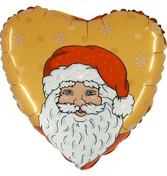 Folienherz Weihnachtsmann gold/rot/weiß, ca. 45 cm Durchmesser