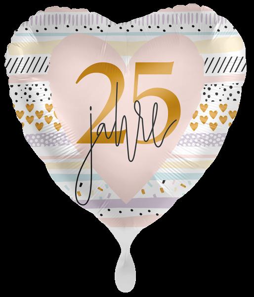 Ballongruß XL: Herz 25 jahre Pastell, ca. 70 cm