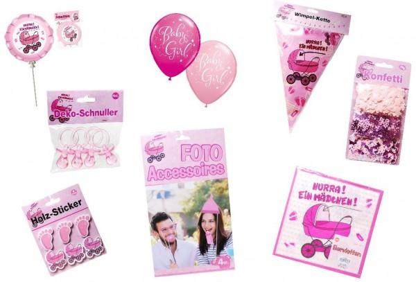 Deko-Set für eine Mädchen Babyparty: Ballons, Dekoklammern, Folienballons, Foto-Requisiten, Konfetti