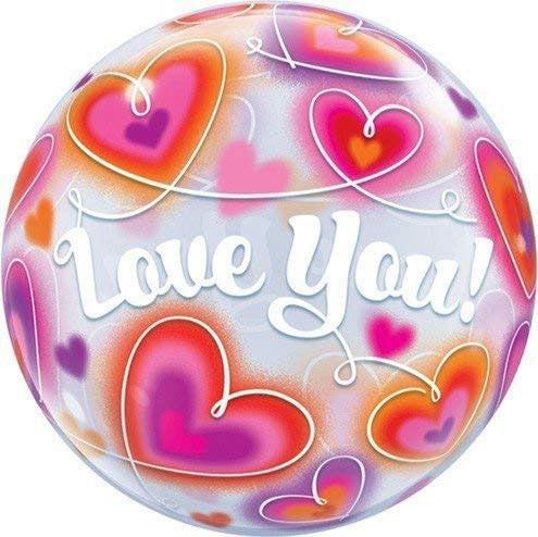 Bubble I love you, Doodle Hearts, Qualatex, ca. 56 cm