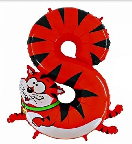 Ballongruß: Riesenzahl 8 Katze Animaloons, ca. 100 cm