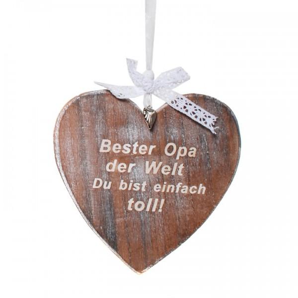 Holzherz Bester Opa, ca. 16,5 cm