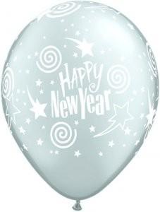 5 Ballons Happy New Year, silber, Qualatex, ca. 30 cm