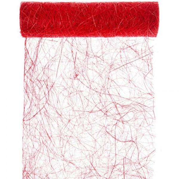 Tischband BREIT Abaca-Faser rot, 30 cm x 5 Meter Rolle