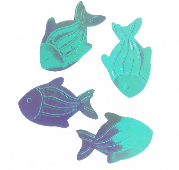 Folien-Konfetti Fische irisierend, Box ca. 5,7x4x1,2 cm