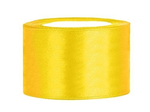 Satinband 3,8 cm x 25 Meter Rolle gelb