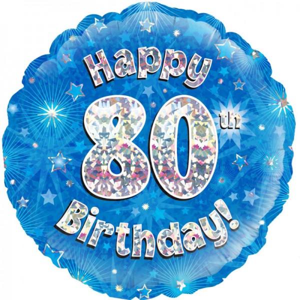 Folienballon Happy 80th Birthday, blau, ca. 45 cm