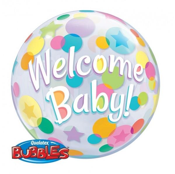 """Bubble-Ballon mit """"Welcome Baby"""" Schriftzug und bunten Punkten, ca. 56 cm Durchmesser"""