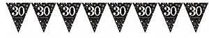 Wimpelkette 30, schwarz/weiß/silber/gold, 4 Meter