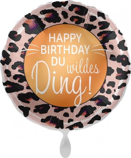 Folienballon Happy Birthday Du wildes Ding, ca. 45 cm
