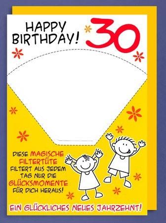 Grußkarte DIN A4: Happy Birthday 30, magische Filtertüte